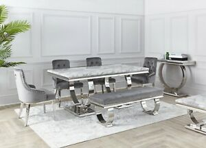 NICHES Grey Marble 160cm New Arianna Dining Table Chrome Legs