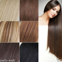 7 Piece Full Head Clip In Real Human Hair Extensions Clip in Black Brown Blonde
