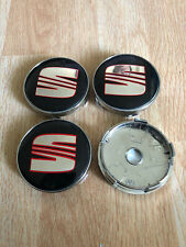 4x Seat Wheel Centre Cap Alloy New Set Of 4 Centre Caps 60mm Black/Silver/Red