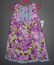 BABY LULU Ruffled Sleeveless Dress NEW NWT Purple & Aqua Floral Neiman Marcus 3T