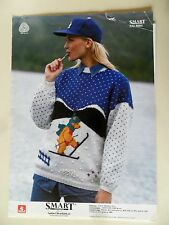SMART 8084 Cross Country Skiing Bear Sweater Nordic Knitting Pattern Sandnes