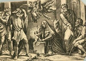 Vintage Etching Religious DE ROSSI (1627-1691) The Adoration of the Shepherds