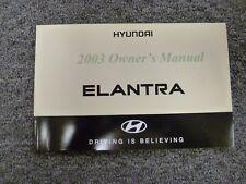 2003 Hyundai Elantra Sedan Hatchback Owner Owner's Manual User Guide GLS GT 2.0L