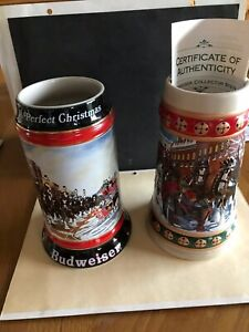 Two Collectible Budweiser Beer Steins 1992 and 1993