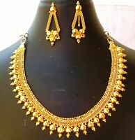 Indian 22K Gold Plated 8 Inch Long Weddings Fashion Necklace Earrings Set C