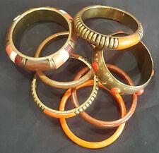 and Metal Bangle Set Brown Orange Multicoloured Wooden