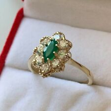 9ct Yellow Gold Cubic Zirconia & Emerald Cluster Ring Size U Hallmarked NEW