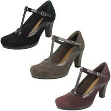 Ladies Clarks Chorus Pitch Court Heel Shoes