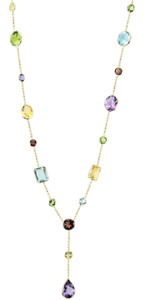 14K Yellow Gold Multi-Shaped Gemstone Necklace 18 Inches