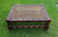 Antique Barley Twist Low Stool, Decoratively Carved with Caned Top
