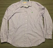 Thomas Pink Mens Size Large Dress Shirt Purple White Striped L/S Button Front