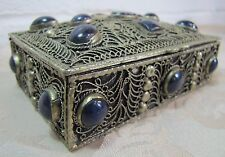 Antique Handmade Trinket Box Exquisite Silver Plate Dark Blue Lapis Ornate