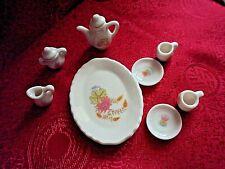 Dollhouse Miniature Porcelain Coffee Tea Set Teapot Cups Saucers Tray 1:12 10pc
