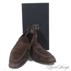 #1 MENSWEAR $1240 Gaziano Girling Made in England St. Tropez Suede KN14 Shoes 11