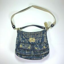 COACH POPPY Hobo Tote Medium Purse Shoulder Bag 15304 All Over Letters Blue Gold