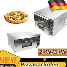 3KW/2KW Edelstahl Elektrischer Pizzaofen Pizzabackofen 2/1 Kammer Für Catering