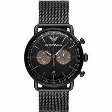 EMPORIO ARMANI 43MM CHRONO SS Blue Dial Mesh Men's Watch AR11201