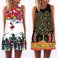 Vintage Boho Mujer Sin Mangas Verano Playa Corto Vestido mini vestido de verano