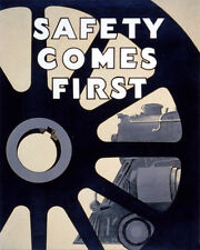 SAFETY COMES FIRST RAILROADS TRAIN MACHINERY 8X10 VINTAGE POSTER REPRO FREE S/H
