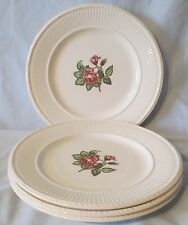 """Wedgwood Brown Back Stamp Moss Rose White Lunch Plate 9"""" set of 4"""