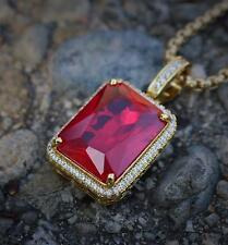 Ruby Red Square Gem Stone Pendant Charm Gold Rope Chain Necklace Men's Jewelry
