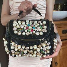 DESIGN Handtasche mit Knöpfen KNÖPFE Gold/Schwarz Tasche LUXUS NEU Bag BUTTONS