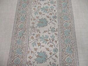 KATE FORMAN FABRIC 'FREYA - AQUA' 3 METRES (300cm) Linen Blend - FLORAL STRIPE