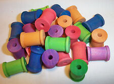 "25 Parrot Bird Toy Parts Colored Wood Spools 1-3/16"" Large Wooden Craft Beads"