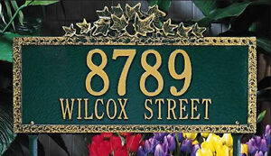 Whitehall Ivy Address Marker Personalized Decorative Plaque 17 Colors - 2 Mounts