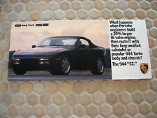 PORSCHE OFFICIAL 944 S2 COUPE & CABRIOLET MAILER FOLDER BROCHURE 1989 USA Ed.