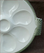 French Oyster Plate Fish Shaped Faience Longwy 1920