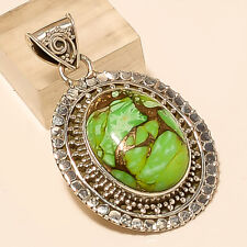 Australian Copper Green Turquoise Pendant 925 Sterling Silver New Year Jewelry