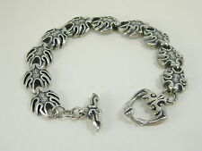 2870 Solid Sterling Silver Gothic Designer Braclet Large Wrist 8 3/4 inch Length
