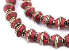 Coral Bicone Inlaid Nepali Brass Beads 10x11mm Red 20 Inch Strand