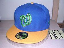 "WASHINGTON NATIONALS BASEBALL CAP/HAT-NEW ERA 59FIFTY 7 1/4"" BLUE-GOLD-GREEN/NEW"