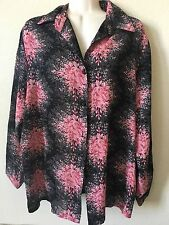 Richness Fashion Black Pink Floral Gold Shimmer Collared Blouse, Size XXXL