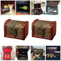 2pcs Retro Style Small Wooden Storage Boxes Memory Keepsake Box With Lid XGJ