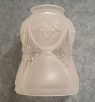 "Vtg Antique Frosted w/ Clear Glass Light Lamp Shade Replacements 2-1/4"" Fitter"