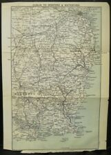 Irish Map DUBLIN to WEXFORD & WATERFORD Ireland Black Bartholomew 1900 7x9.75