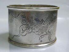 Chinese Export Silver Napkin Ring Holder with Dragon Motif