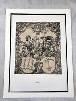 1911 Antico Stampa Holbein Famiglia Ritratto Cappotto Di Braccia Araldica Crest