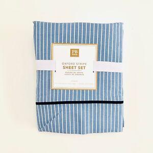 Pottery barn teen oxford stripe sheet set XL Twin Blue white