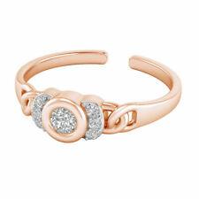 Round Cut Diamond Fashion Adjustable Toe Ring Women's 14k Rose Gold Over 0.20 Ct