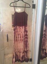 Lucky Brand Smocked Tye Dye Maxi Cotton Blend Sleeveless Dress XL Beach Cruise