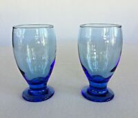 Set of 2 Blue Footed Water Iced Tea Goblets Glasses