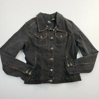 FC French Cuff Women's Jean Black Denim Button Up Sleeve Jacket Faded Ladies S