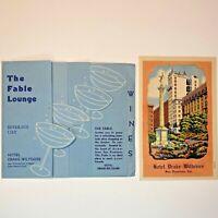 Vintage Hotel Drake-Wiltshire San Francisco Fable Lounge Beverage Menu, Postcard