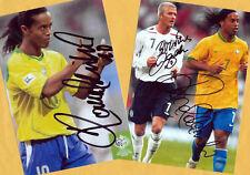 RONALDINHO - 2 SUPER - AK Bilder (4) Print Copies + 2 AK Fußball WM signiert