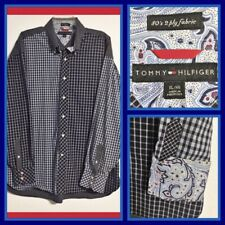 Tommy Hilfiger Mixed Plaid 80's 2-Ply Cotton Shirt Size XL Long Sleeve Flip Cuff