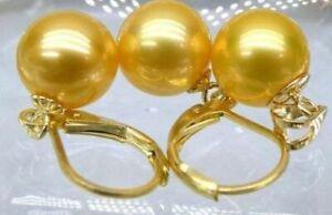 Huge AAA+ 14mm south sea golden shell pearl earrings Pendant SET 14K gold
